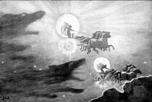 """The Wolves Pursuing Sol and Mani"" by John Charles Dollman - Guerber, H. A. (Hélène Adeline) (1909). Myths of the Norsemen from the Eddas and Sagas."